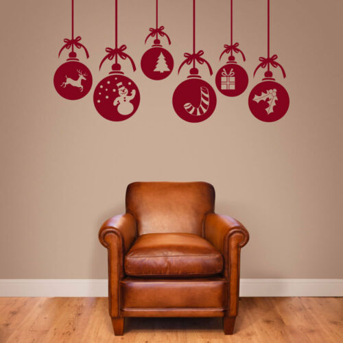 Christmas Xmas Baubles Shop Window Wall Decorations Vinyl Stickers Decals A53