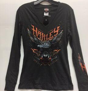 Harley-Davidson-Women-039-s-Long-Sleeve-Bling-Eagle-v-neck-thumb-cuff-shirt-Small