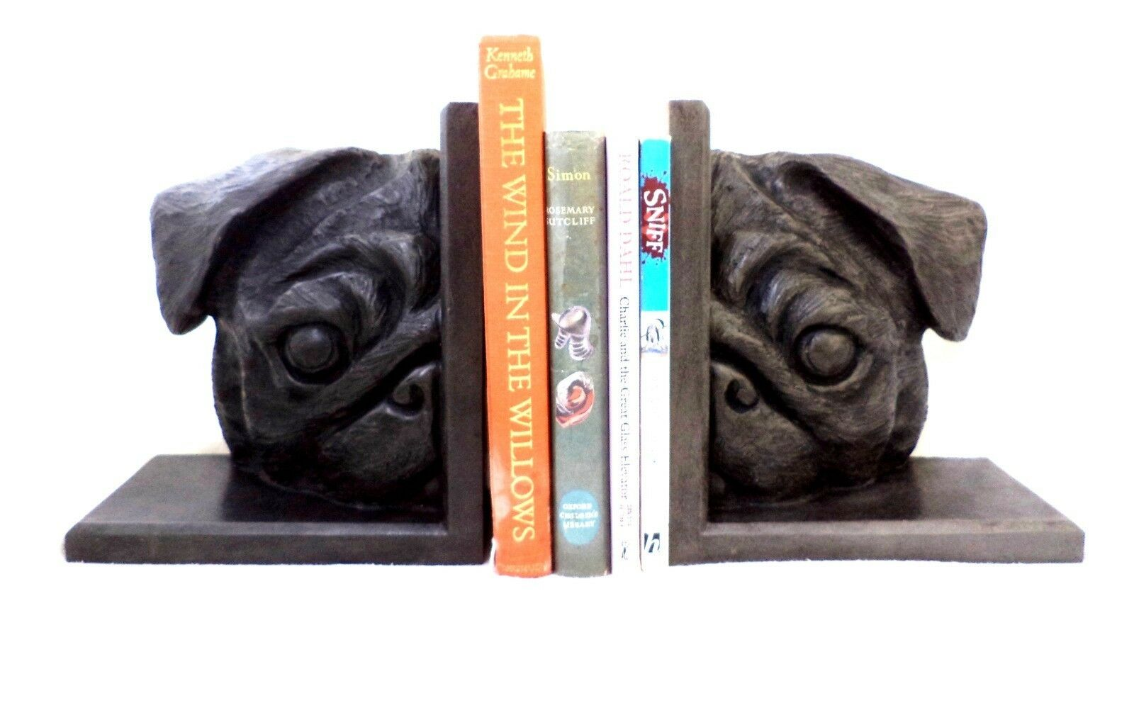 PUG BOOKENDS. HANDMADE SCULPTURAL. HEAVY & TRADITIONAL.