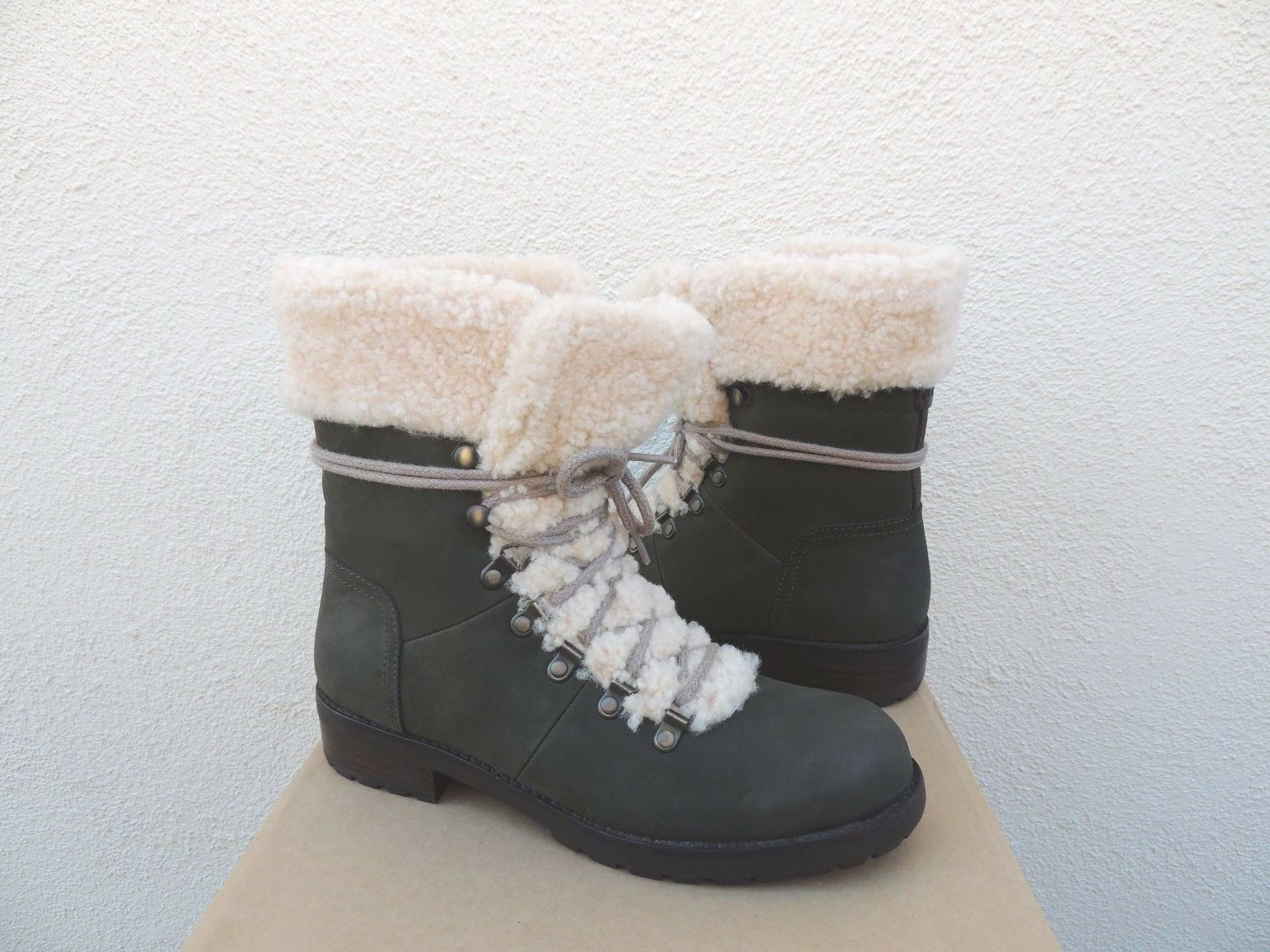 f4a9b8b6f0f UGG Australia 1018896 SLA 10 Women Fraser Leather Lace up Sheepskin BOOTS  Grey