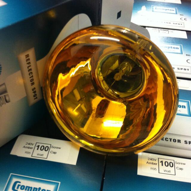 Crompton 100w Screw-Cap Light Bulbs Yellow/ Amber Coloured