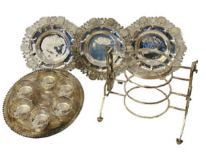 RARE!! ORIGINAL 900 SILVER PASSOVER SEDER PLATE 4 PLATES WITH DISPLAY STAND
