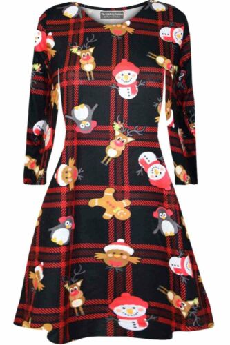 Kids Christmas Party Skater Swing Dress Girls Long Sleeve Santa Claus Dresses