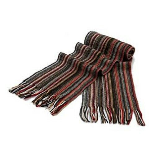 1 Ply Pure Cashmere Men's Stripe Scarf Blue,black,red,camel