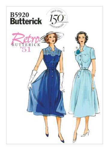 OOP Butterick B5920 Vintage 1950/'s Notch Collar Button Dress Slip Sewing Pattern