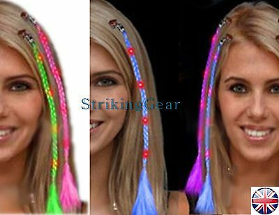 LED FLASHING LIGHT UP HAIR BRAID EXTENSION DANGLE CLIP PARTY * 4 COLOURS * UK
