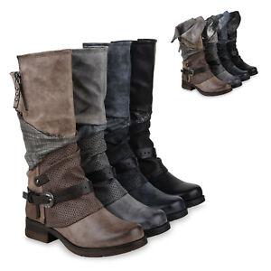 REPLAY Bikerboots schwarz Damen Schuhe Flacher Absatz Leder