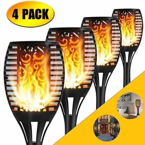 4Pack 99 LED Flickering Landscape Lamp Dancing Flame Solar Torch Garden Lights
