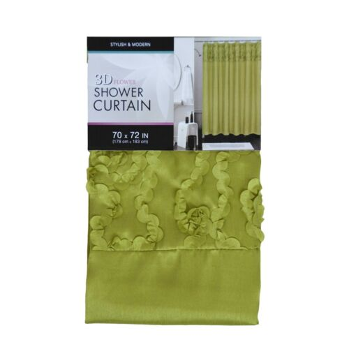 Fabric Shower Curtain with 3D FLOWER Pattern Top