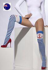 Women Lady Girl Anchor Sailor Marine blue stripe Knee high Long Socks tights