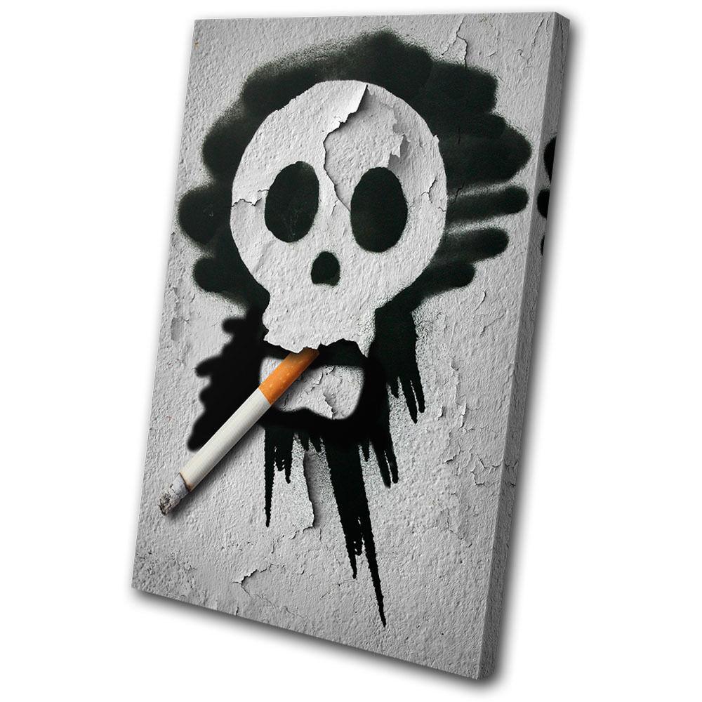 Graffiti Smoking Skull SINGLE Leinwand Wand Kunst Bild drucken