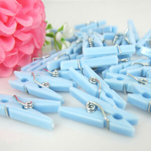 50pcs Small Clothespins Baby Shower Favors Blue Boy Party
