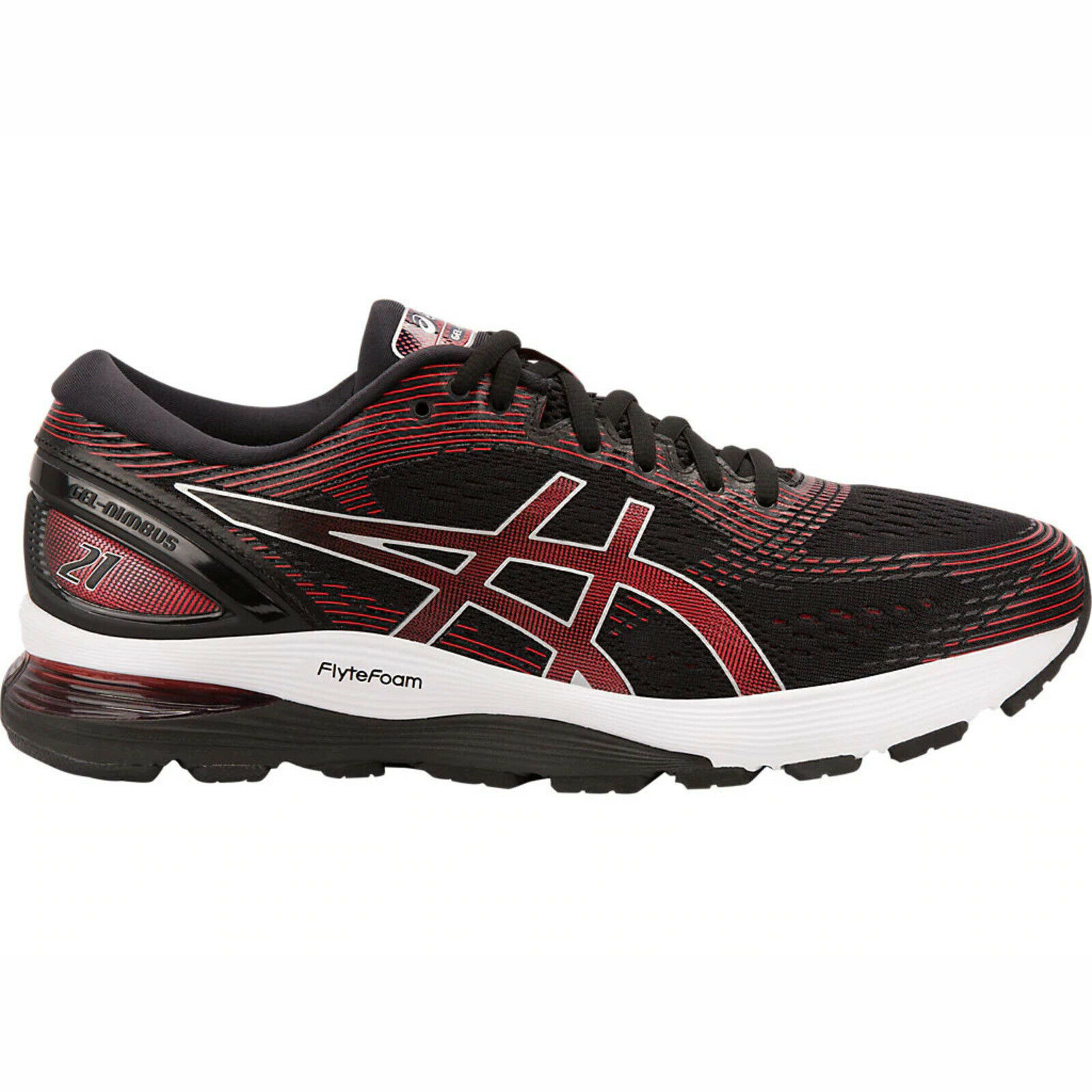 Asics GEL-Nimbus 21 [1011A169-002] Men Running shoes Black Classic Red