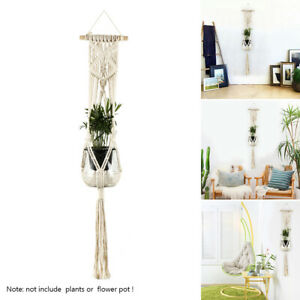 Macrame-Plant-Hanger-Indoor-Outdoor-Hanging-Planter-Pot-Jute-Rope-Vintage-Garden