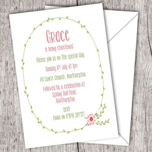 Envelopes Christening Invitations Personalised ~ Baptism//Naming Day ~ Girl Inc