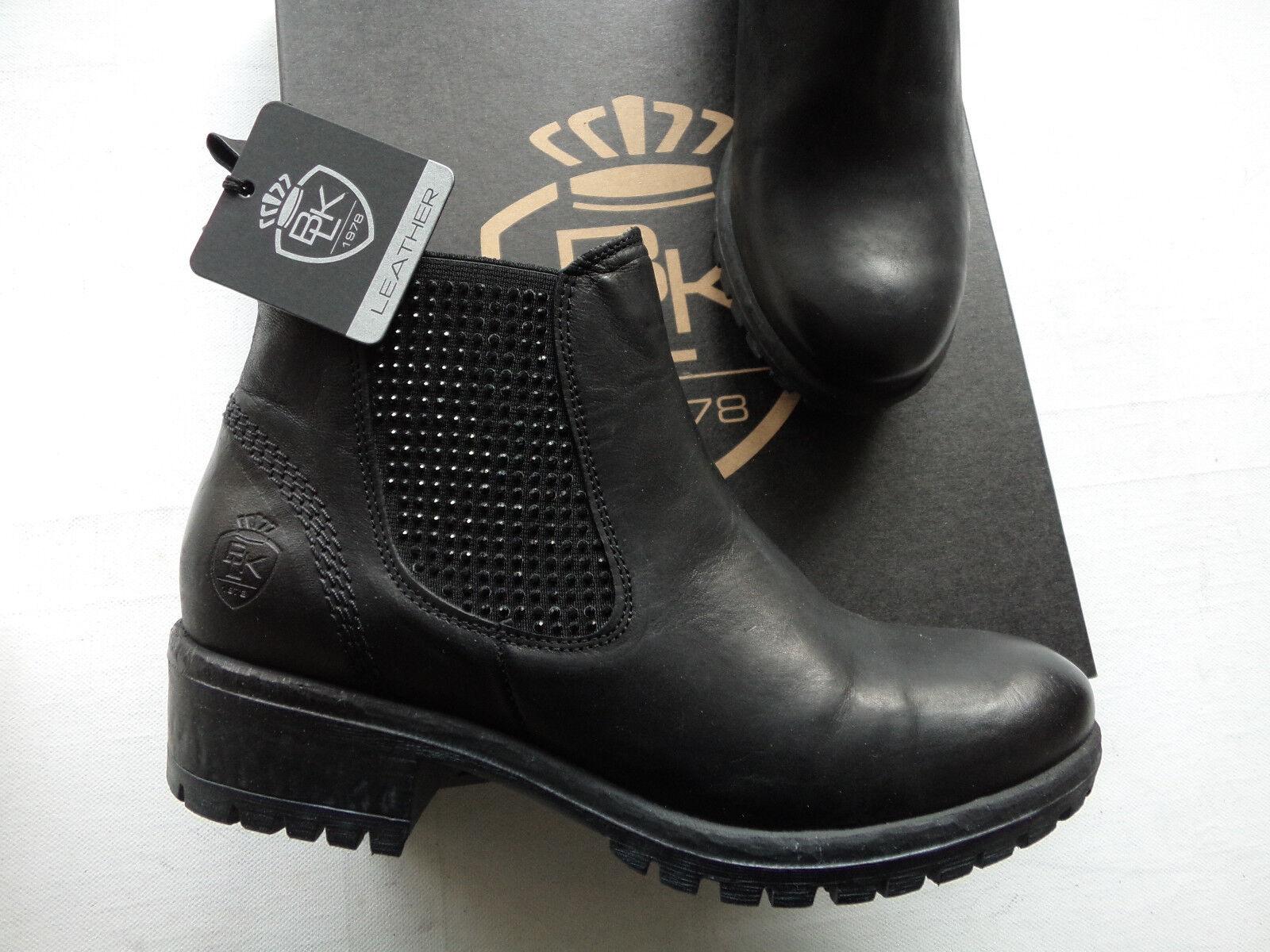 NEU schwarz  Stiefel Stiefelette echt Leder schwarz Made in Portugal Größe 39
