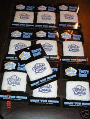 100-White Castle Wristbands Classic Logo Free S//H To USA White NEW!
