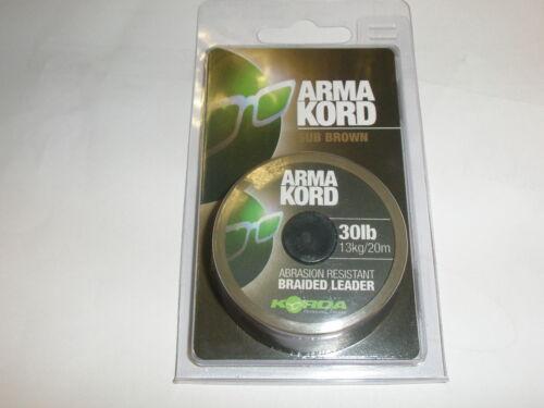 Korda Arma Kord resistente all/'abrasione INTRECCIATO LEADER 20m tutte le varietà pesca della carpa