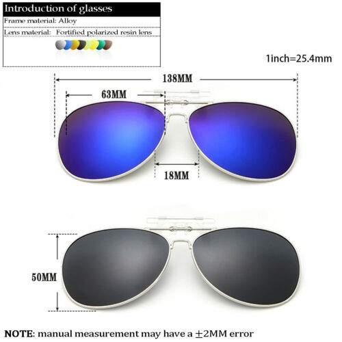 Clip-on Polarized Night Vision Aviator Sunglasses Flip-up Lens Driving Glasses