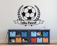 Wandaufkleber: Fußball + Wunschtext - Junge Name EM WM Kinderzimmer WandTattoo