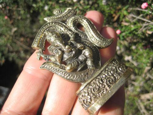 Brass Metal Ganesh Ganesha Elephant Ohm Statue Amulet Thailand A24