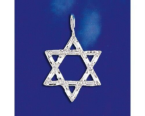 Sterling Silver Jewish Star Of David Pendant Magen David Charm Solid 925 Italy
