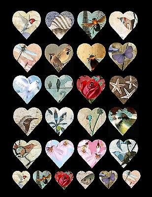 Vignettes of Nature Hearts - Collage Sheet Scrapbooking Laser Print
