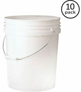 Image Is Loading 5 Gallon Plastic White Paint Bucket Utility Storage