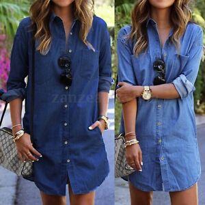 7f727a2f3ac AU Women Long Sleeve Loose Tunic Top Button Down T-Shirt Mini Short ...