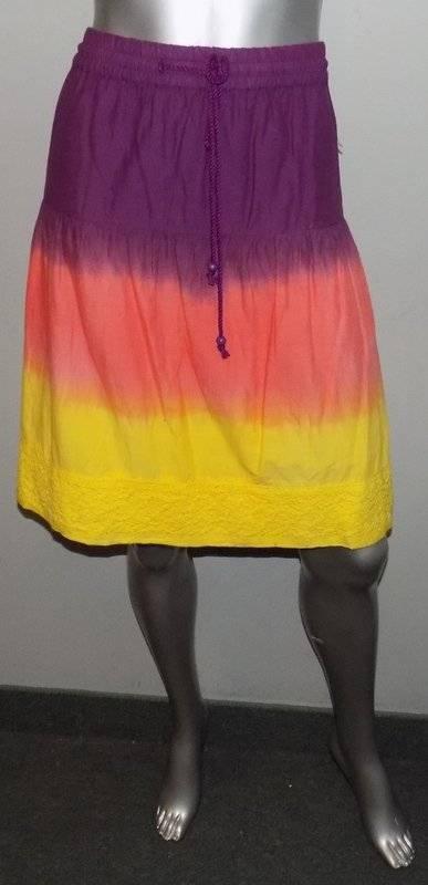 LANE BRYANT NEW Purple orange Yellow Tie-Dye Elastic Tie Waist Skirt sz 26 28W