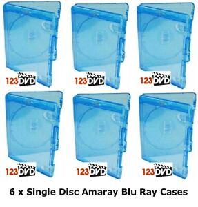 6 x Blu Ray Case 15mm Spine (Single Disc) - Genuine AMARAY *FAST UK DISPATCH*