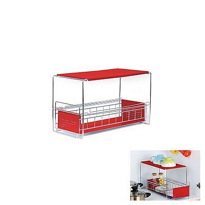New Slim  2 Tier Sliding Sink Shelf Kitchen Organizer Rack Sauce Bottle Storage