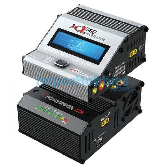 Combo cargador Hitec X1 Pro AC 12V - 6S 16A 180W & Fuente 17.5A MU114130