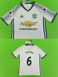 reputable site d0f5c 062db Details about adidas Manchester United - Away Shirt 2016-17 Paul POGBA No.6  YOUTH 9-10y S.Boys