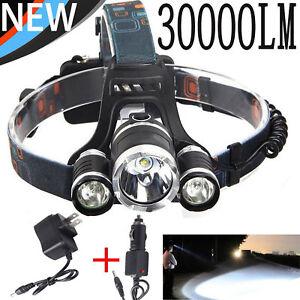 Bright 20000LM XM-L XML T6 LED 18650 Tactical Emergent Headlamp Headlight Light