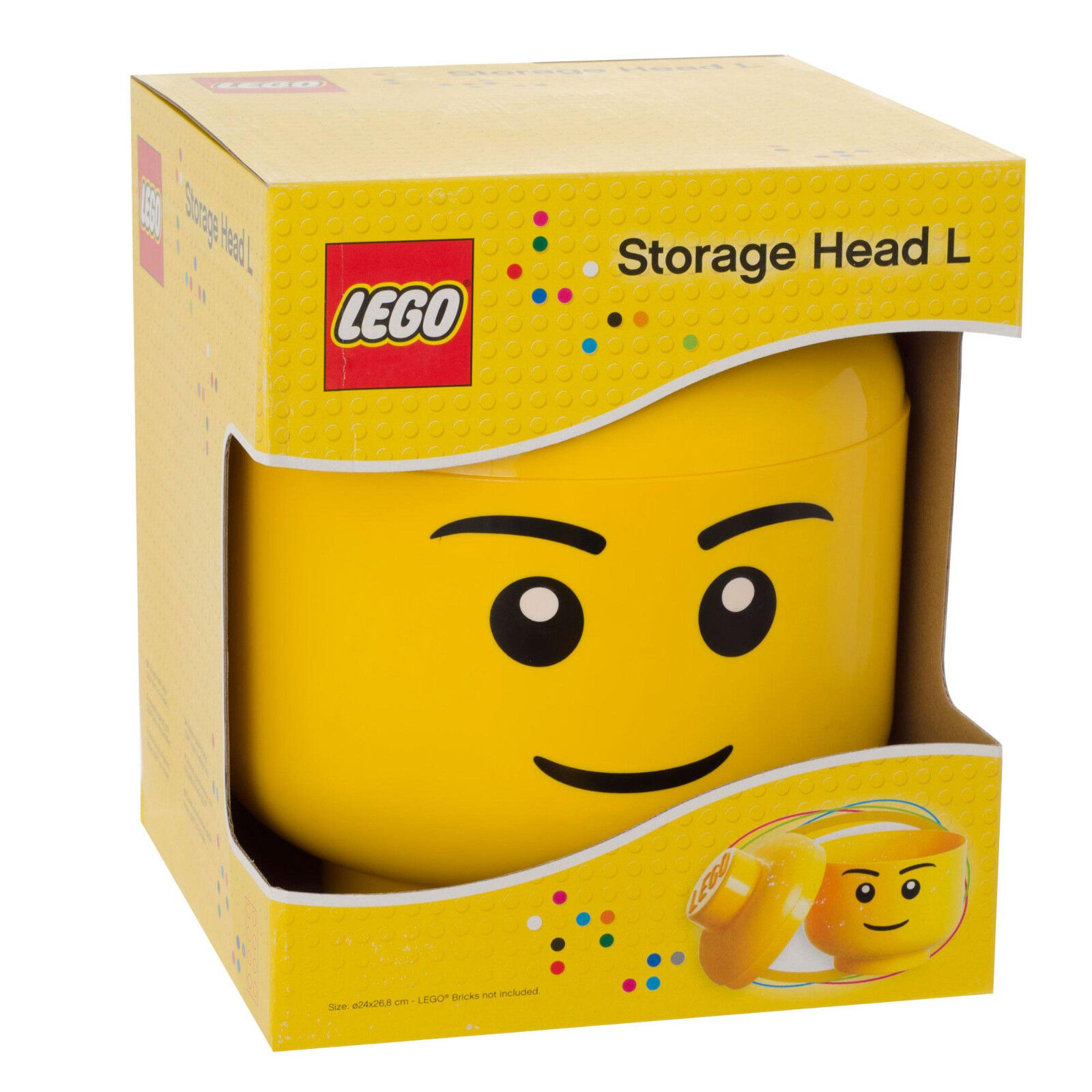 Lego Large Yellow Storage Minifigure Head Boy L RETIRED - Brand New & Sealed
