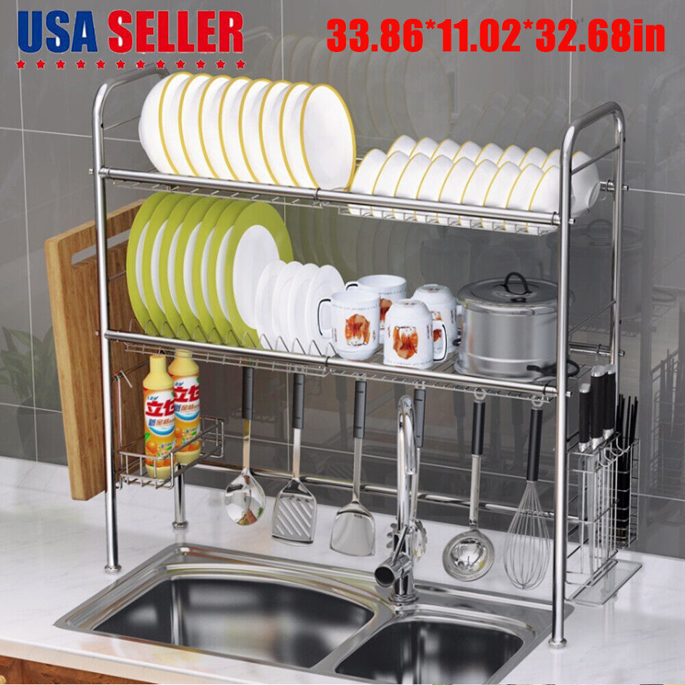 471b8428705d 3 Tier Over The Sink Dish Drying Rack Shelf Stainless Kitchen W/ Cutlery  Holder 4 4 of 12 ...
