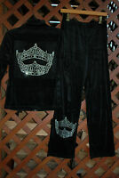 Miss America Pageant Crown Rhinestone Bling Velour Sweat Suit S M L Xl Xxl