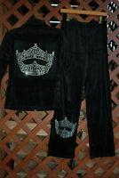 Miss America Pageant Crown Rhinestone Bling Velour Sweat Suit S M L Xl Xxl