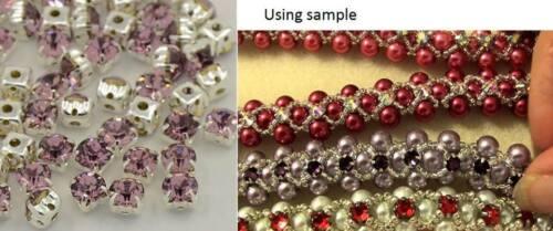 25 un Luz de Cristal Amatista Coser Montee Adornos 3.8-4MM diamantes de imitación
