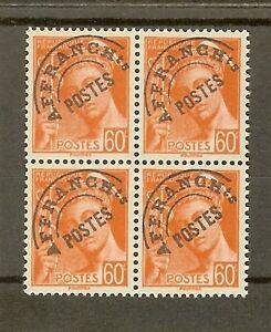 FRANCE-STAMP-TIMBRE-PREOBLITERE-83-034-TYPE-MERCURE-60c-BLOC-DE-QUATRE-034-NEUF-xx-SUP