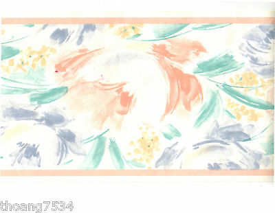 Water color Pastel Tie Dye Abstract Teal Brush Stroke Peach Wall paper Border