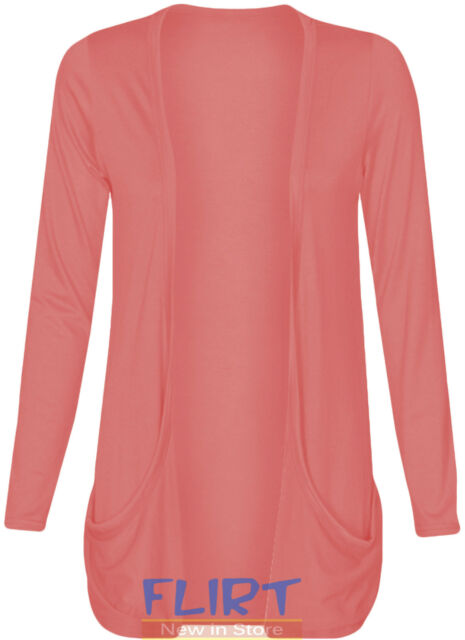 Womens Long Sleeves Drop Pocket Boyfriend Cardigan Ladies Open Casual Tops 8-14