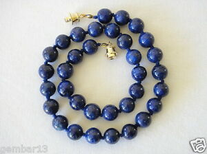 Blue-Lapis-Lazuli-Necklace-10mm-Lapis-Beads-10-mm-Hand-Knotted-Various-Lengths