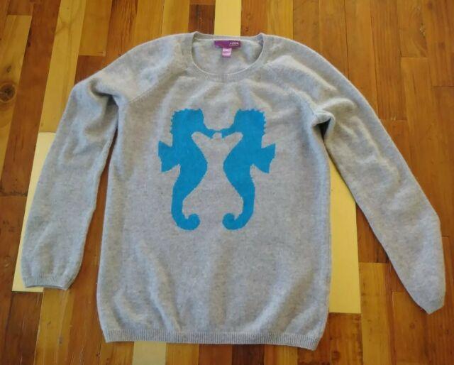 aqua cashmere Women's Grey sea horse Pullover sweater Medium