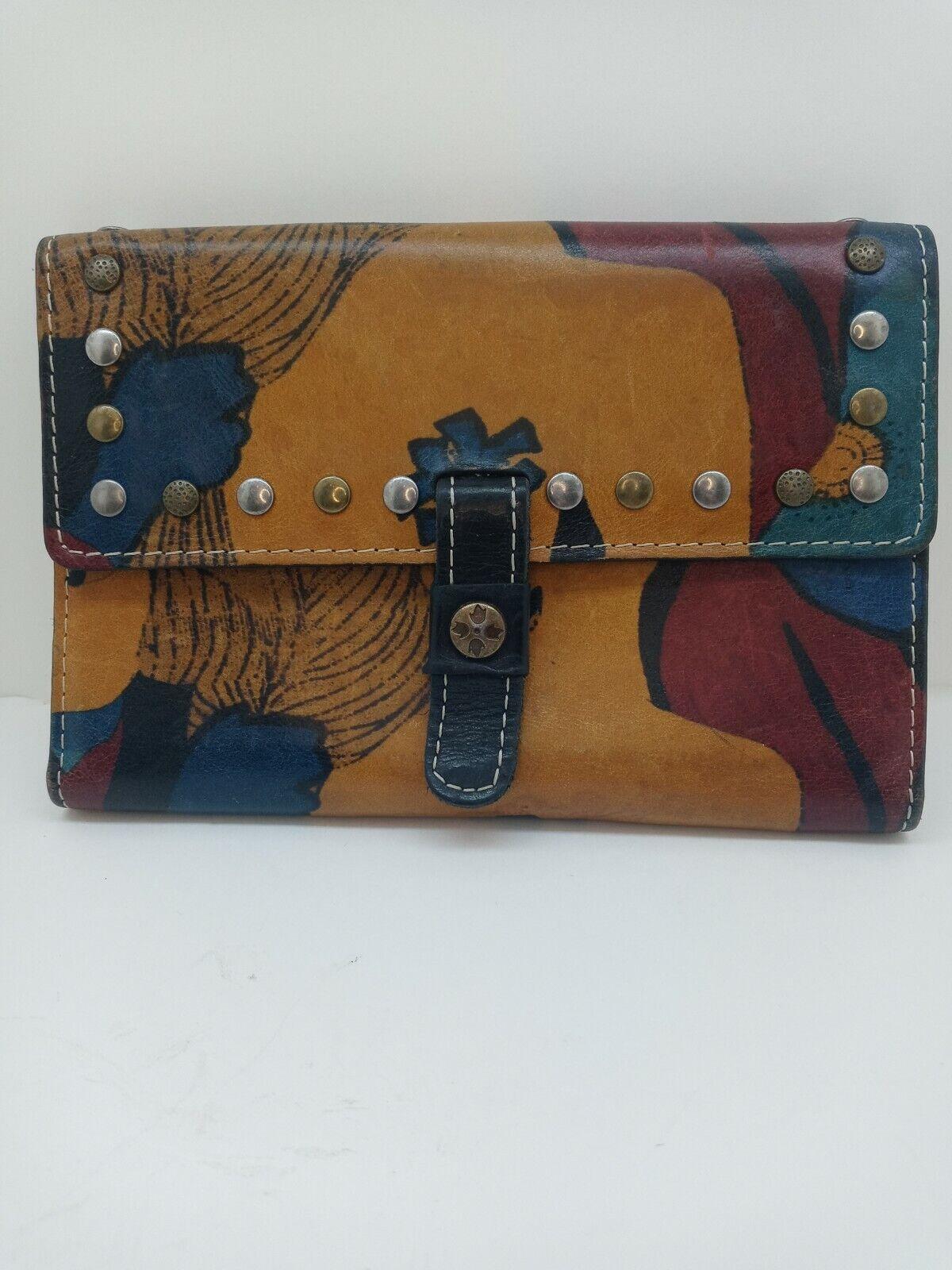 Patricia Nash Leather TriFold Wallet Floral,multicolor, organizer, checkbook,GUC