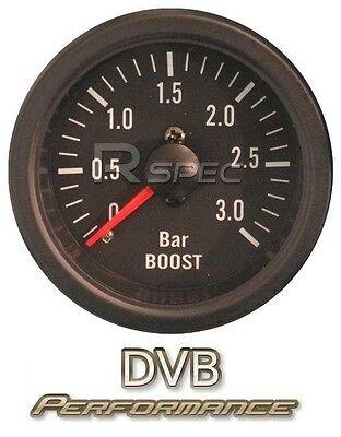 Black 52mm Car Diesel Boost Gauge 3 BAR clear lens Mechanical