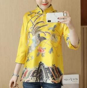 Retro-Womens-Chinese-Embroidery-3-4-Sleeve-Qipao-Tops-Casual-Blouses-Shirts-size