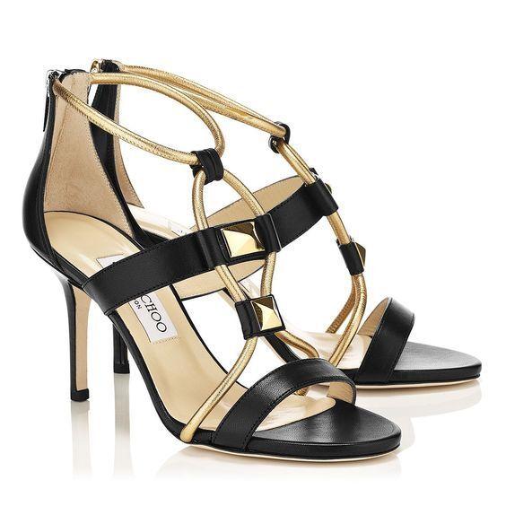 950+NEW Jimmy Choo Choo Choo Vernice Sandalias De Cuero Napa Color Negro oro Talla 40 US 9.5  los últimos modelos