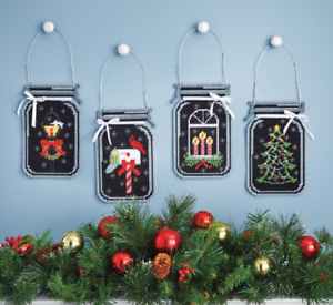 Mary Maxim PLASTIC CANVAS KIT Christmas HOLIDAY GLOW Mason Jar Set of 4 Complete